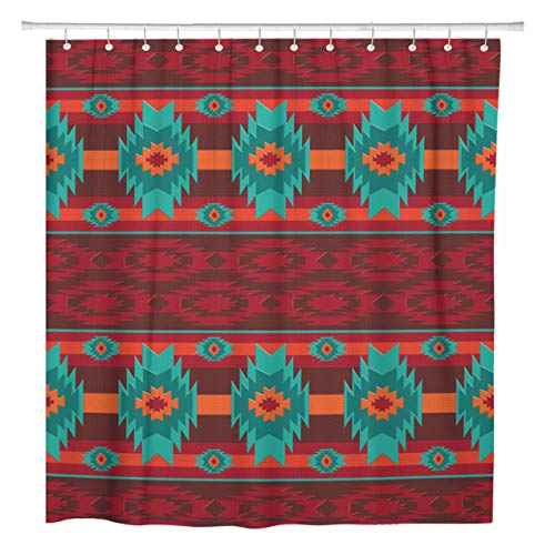 ArtSocket Shower Curtain Colorful Southwest Southwestern Navajo Pattern Tribal Abstract Aztec Ethnic Home Bathroom Decor Polyester Fabric Waterproof 72 x 72 Inches Set with Hooks