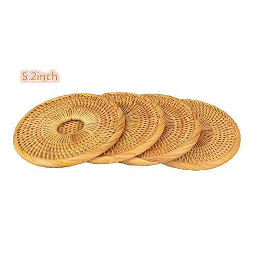Handmade Round Rattan Coaster Rustic Style Cupmat for Drinks,Coffee,Restaurant and Table(4Packs, 5.2'') by Generic (Image #1)