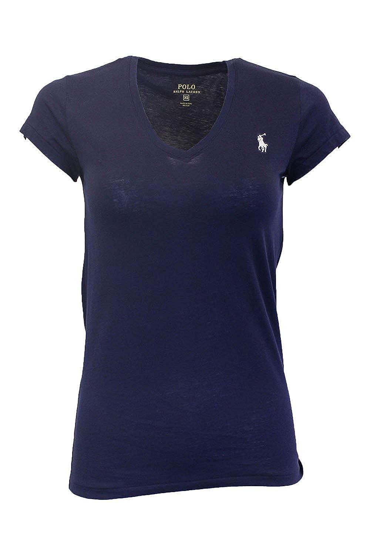 Ralph Lauren Sport Camiseta con Cuello EN v para Mujer: Amazon.es ...