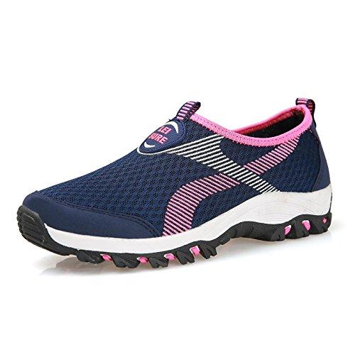 Hasag Verano Calza los Zapatos de Mediana Edad Cómodos de Las Mujeres Zapatos Respirables de la Red Ligera Zapatos de la Madre de la Parte Inferior Suave Dark blue rose