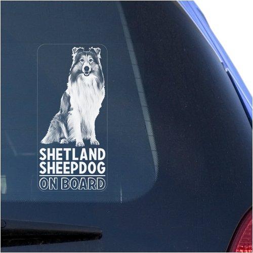 Shetland Sheepdog Clear Vinyl Decal Sticker for Window, Sheltie Dog Sign Art Print