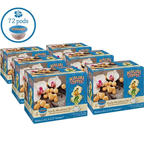 Kauai Coffee, Vanilla Macadamia Nut, 12 ct (Pack of 6)
