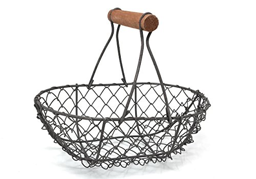 Wire Chicken Egg Basket, Wood Handle, Farm Style by EggBaskets (Rust - Egg Basket Wire