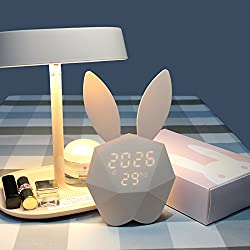 Kids Bunny Alarm Clock Wall Clock Cute Night Light Table Clock Wake Up Light Cartoon Rabbit Bedside Table Lamp for Kids Children Adults Mother (Pink)
