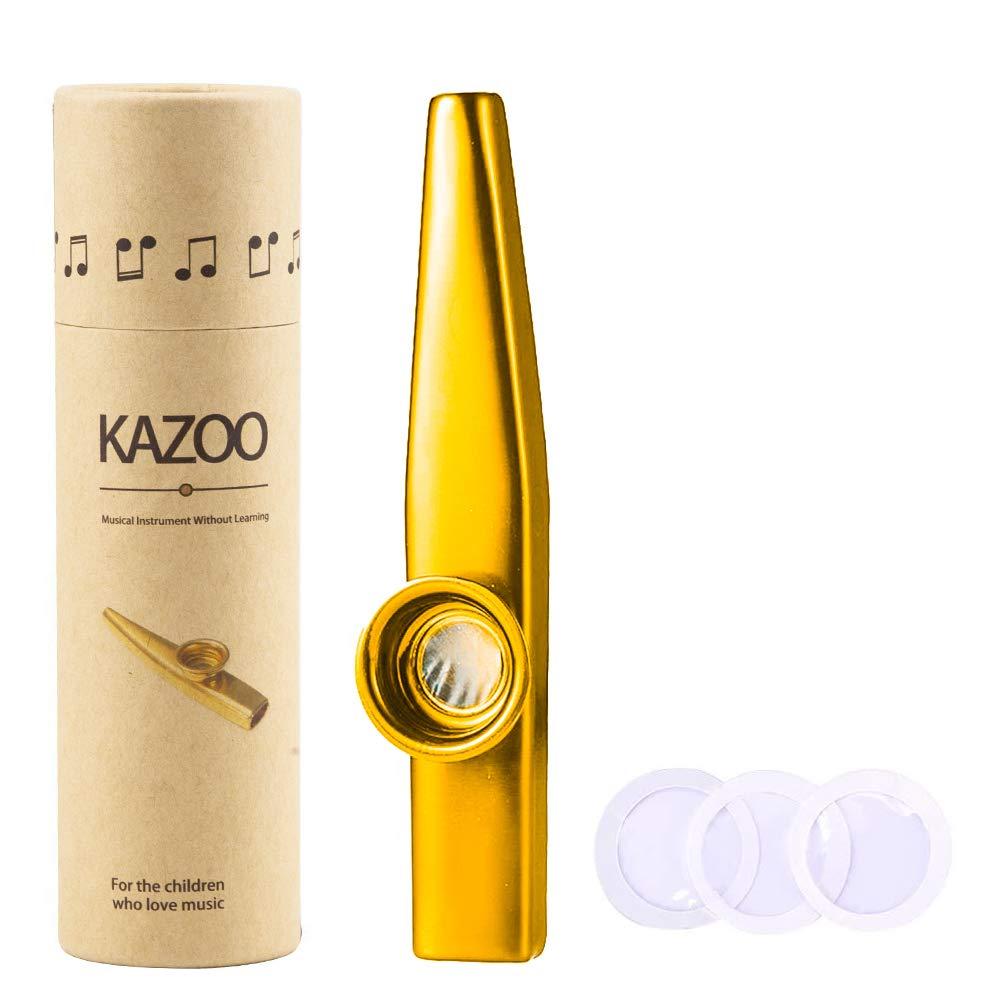 WANDIC Kazoo, Gold Aluminum Alloy Kazoo and 3 Membrane Flute Diaphragms Mouth Kazoos with Vintage Gift Box,