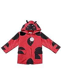 Fashine Kids Lightweight Raincoat Dot Hooded Waterproof Rain Jacket 2-7 Years