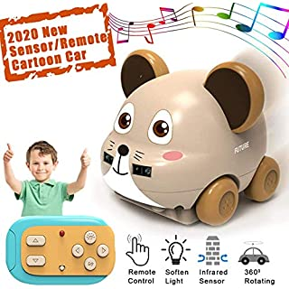 ONG NAMO Boys Toys Car Toys Remote Control & Hand Operated 2 Models Cartoon Animal Car with Music Educational Toys Gifts for Kids Toddlers Boys Girls Age 3 4 5 6 7 8 Year Old (Gray)