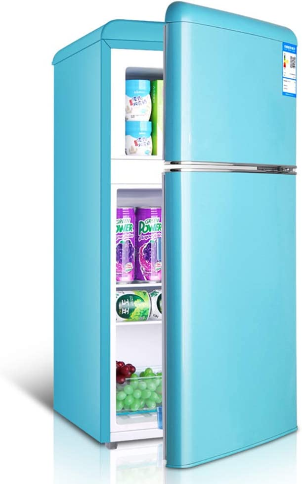 Double door retro refrigerator with freezer mini fridge removable partition bracket and transparent fruit and vegetable box for dormitory/office/apartment/car 51N5mDlFJXLSL1001_