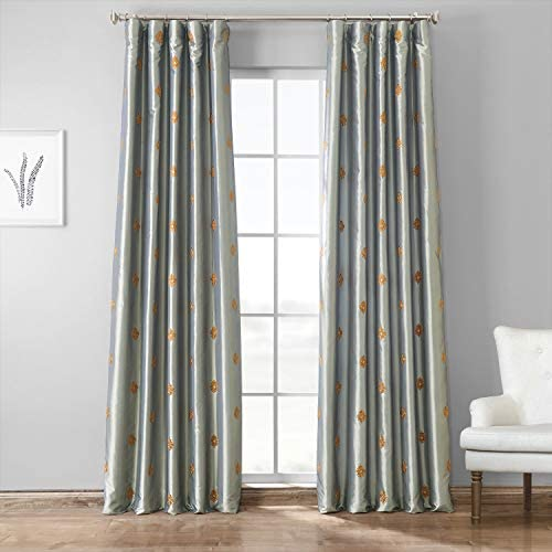 HPD Half Price Drapes EFSCH-18052A-120 Designer Embroidered Curtain 1 Panel