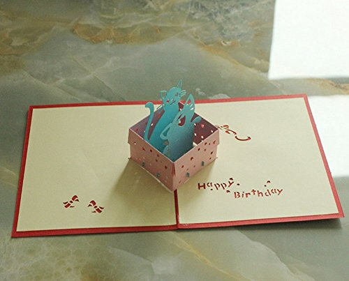 [MADE4U Kirigami Papercraft 3D Pop Up Card Anniversary Baby Birthday Easter Halloween Mother's Day New Home New Year's Thanksgiving Valentine's Day Wedding Christmas Card (Cat) HKYY1019-R] (Cat Valentine Greeting Cards)