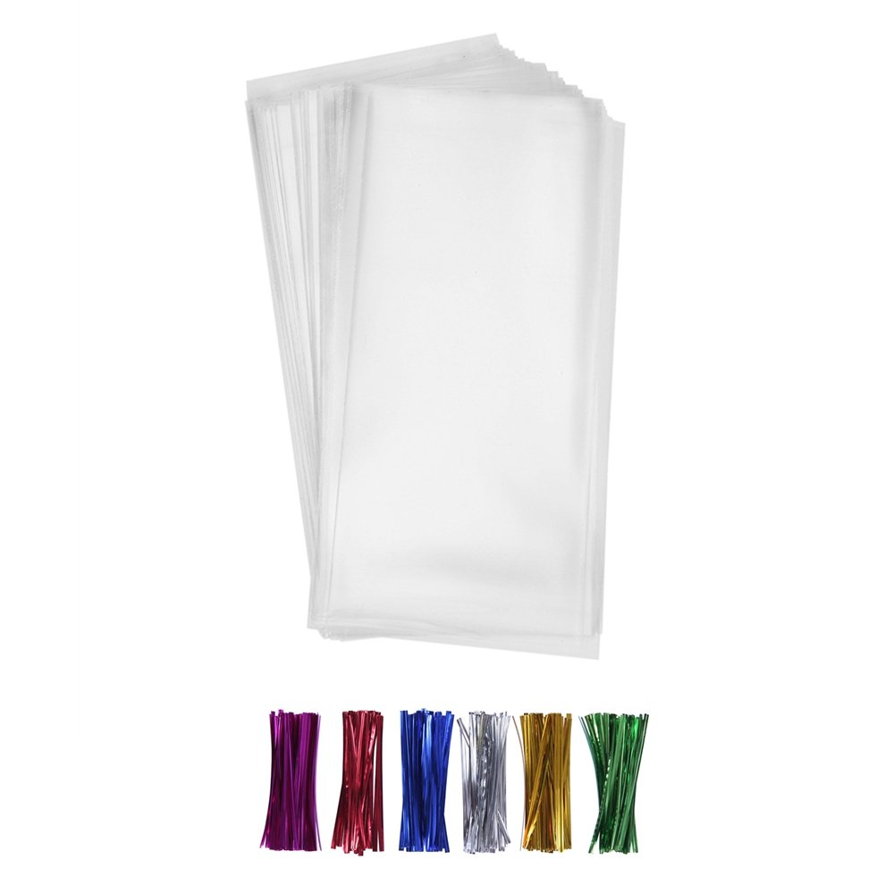 200 Clear Treat Bags 5x11 with Twist Ties 6 Mix Colors - 1.4mils Thickness OPP Plastic Poly Gift Bags (5'' x 11'')
