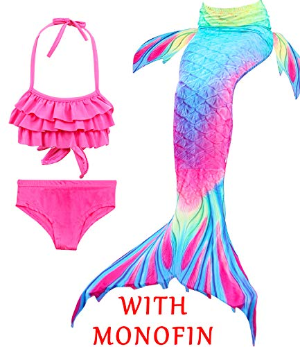 4Pcs Girl's Mermaid Tails Swimsuit Bikini Set Princess Swimming Bathing Suits Swimwear(Support Monofin) (Youth Medium (fits Like 5-6), A Ruffled Top+Mermaid Tail+Monofin) -