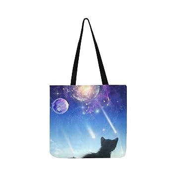 Un gato en una ventana mira en el espacio lona bolso de mano bolso bandolera bolso