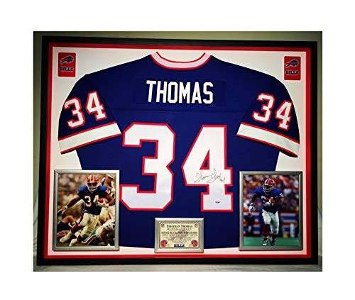 Premium Framed Thurman Thomas Autographed/Signed Buffalo Bills Official Mitchell & Ness Jersey - PSA COA - Framed Thurman Thomas Buffalo