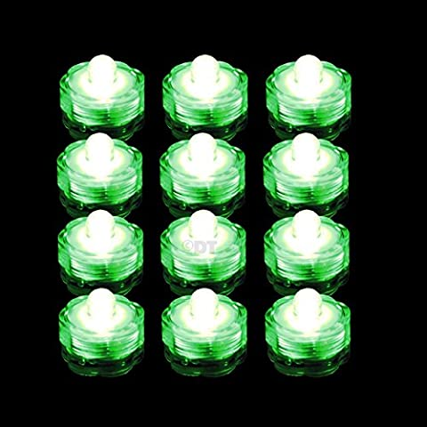 12 Submersible LED Waterproof Lights RGB for Vase Wedding Party Fish Tank Decors (Green) - Light Green Bowl