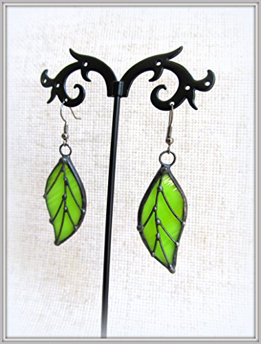 Leaf shaped Stained Glass Earrings. Beautiful chandelier earrings. Tiffany technique - Buy Co Tiffany Online And