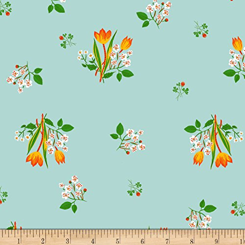 Windham Fabrics 0546945 Heather Ross Kinder Spring Blooms Pale Blue Fabric by The Yard