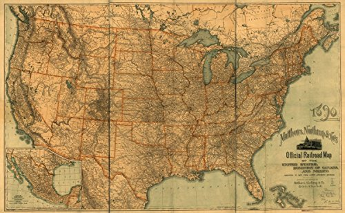 Historic 1890 Map | Matthews, Northrup & Co's official railroad map of the United States, Dominion of Canada and Mexico perfected to date from latest authentic sources. 39in x 24in
