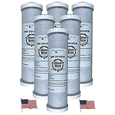 KleenWater Carbon Block Water Filter, Under Sink Replacement Cartridges, Chlorine Cloramine Sulfur Odor Pesticide Contaminants Dirt Sediment Filtration, Set of 6