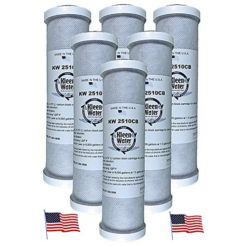 - KleenWater Carbon Block Water Filter, Under Sink Replacement Cartridges, Chlorine Cloramine Sulfur Odor Pesticide Contaminants Dirt Sediment Filtration, Set of 6