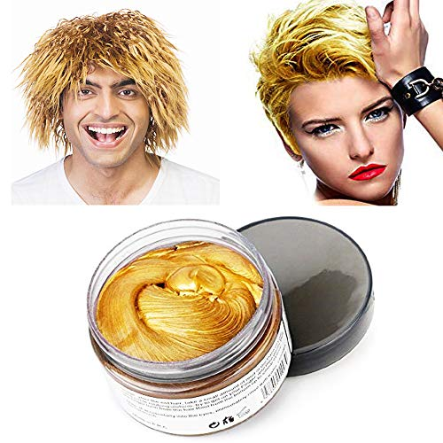 MOFAJANG Gold Hair Color Wax, Natural Hair Wax 4.23 oz, Temporary Hair Color for Party, Cosplay, Halloween, Daily use, Date, Clubbing (Gold) -