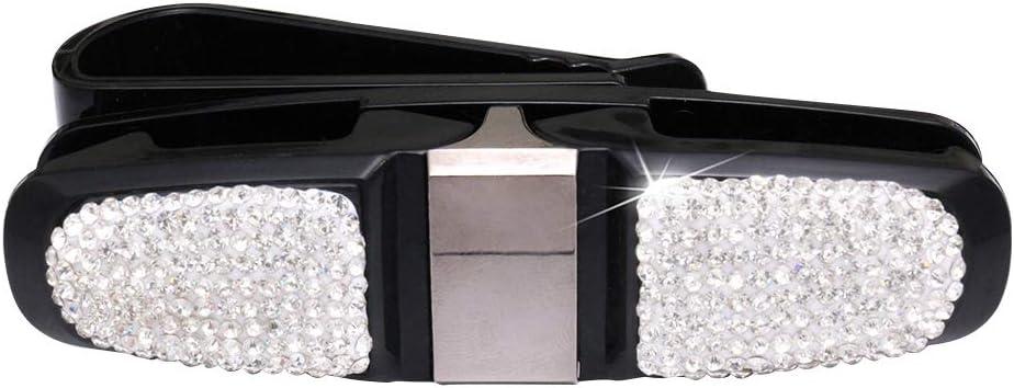 KKmoon Car Sun Visor Sunglasses Holder Clip Bling Diamond Rhinestone Shining 180 Degree Rotation Glasses Holder for Car White