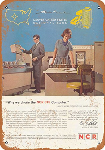 Wall-Color 9 x 12 METAL SIGN - 1963 NCR 315 Mainframe Computers - Vintage Look Reproduction