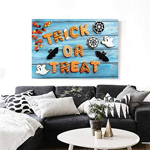 (Vintage Halloween Wall Paintings Trick or Treat Cookie Wooden Table Ghost Bat Web Halloween Print On Canvas for Wall Decor 32