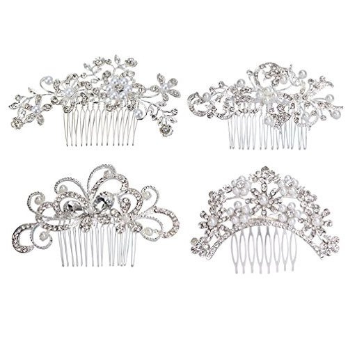 ANBALA 4 Pack Bridal Wedding Hair Comb Bridal Hair Clip Crystal Rhinestones Pearls Women Wedding Hair Comb Wedding Decoration Headpiece for Brides Silver
