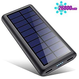 HETP Solar Powerbank 26800mAh, 【2020 Neuestes Solarladegerät 】 Externer Akku Tragbares Ladegerät Akkupack mit 2…