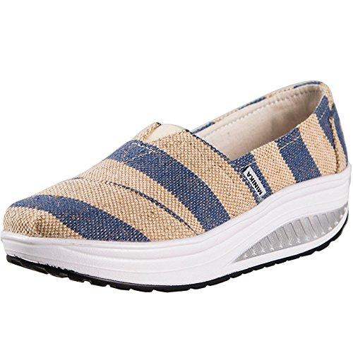 7bbf1cd42 JARLIF Women s Platforms Fitness Slip On Canvas Sandals Athletic Walking  Sneakers US5.5-8 good