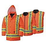 Pioneer V1120150-XL Hi-Viz Waterproof 6-in-1 Safety Parka Jacket, 2 Large Cargo Pockets, Orange, XL
