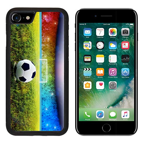 Luxlady Apple iPhone 8 Case Aluminum Backplate Bumper Snap iPhone8 Cases Soccer Ball on Penalty Disk in The Stadium Image ID 7127177
