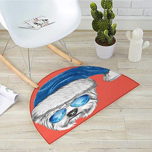 Yorkie Semicircle Doormat Terrier with a Blue Santa Hat and Mirror Aviator Glasses Fun Hand Drawn Animal Halfmoon doormats H 39.3