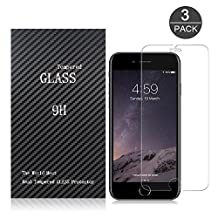 iPhone 6/6S/7 Screen Protector,Airsspu Tempered Glass 3D Touch Compatible,9H Hardness,Bubble Free (3Pack)