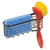 mDesign Metal Kitchen Sink Center Storage Caddy with Built-In Dishwashing Brush Holder- Suction Mount - Basket Holds: Pot Scrubbers, Scouring Pads, Sponges - Black Chrome