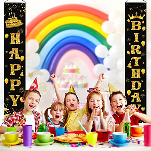 LioNergy Happy Birthday Banner Black and Gold Hanging Birthday Porch Sign for Outdoor Indoor Happy Birthday Party Decration Supplies