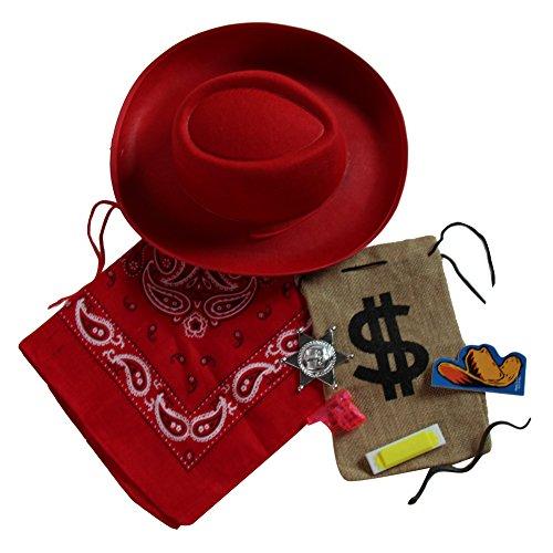 [Kids Cowboy / Cowgirl Dress Up Set (Red Hat, Red' Bandanna, Favor Bag)] (Child Red Cowboy Hat)
