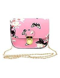 Jocestyle Women Ladies Fashion PU Leather Flower Printed Crossbody Bag Single Shoulder Bag with Chain