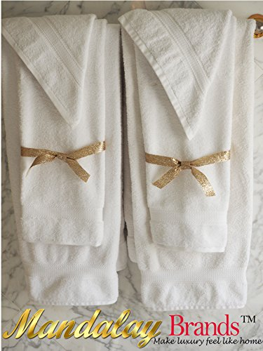 Luxury Hotel & Spa set of 6-piece Towels, 750GSM,100% Long Staple Combed Cotton. Premium set of 2 bath towels, 2 hand towels, 2 washcloths, Color (White) by Mandalay Brands (Image #7)