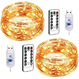 AquaVita 100 LED 33Ft Fairy String Lights. Decorative Fairy Lights for Christmas Tree, Bedroom, Patio, Garden, Party, Cafe Decoration. USB Powered Warm White String Lights with Remote & Timer. 2pcs