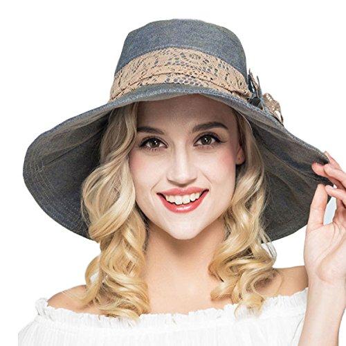 Alishare Cotton Hat Large Brim Sun Hat Women Summer Beach Cap Big Foldable Floppy Fedora Hats For Women Grils (Jeans Blue) -