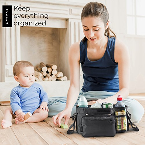 Stroller Organizer Bag -Universal Fit, Large Storage Space for Baby's Accessories and Phone, Insulated Cup Holders, Shoulder Strap, Removable Compartments, Stroller Caddy, Parent Console Organizer by Noukha (Image #5)