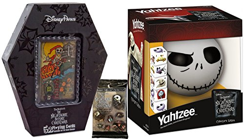 The Nightmare Before Christmas Game Collection Yahtzee Dice & 52 Playing Cards + Collectible Trading Card Pack