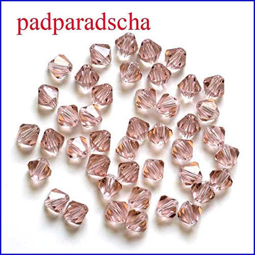 Pukido 6mm 200pcs/Lot Bicone Beads Glass Crystal Glass Beads 5301 Bicone Drop-Shipping - (Color: padparadscha, Item Diameter: 6mm)