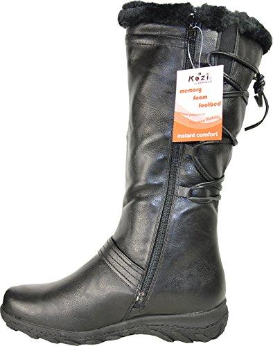 Kozi Donna Casual Invernale Boot Sd5503m In Pelliccia Foderato Con Memory Forma Plantare Nero 38m