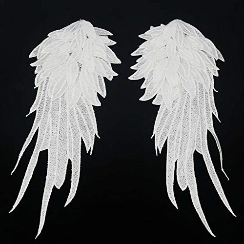 1Pair DIY Patch Angel Wing Embroidery Decor Lace Applique Clothes Accessoriess (Color - - Hoe Duo