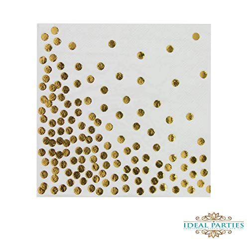 Gold Foil Polka Dot Lunch Napkins, 6.5-inch, 50 Pack, Gorgeous Metallic Colored Wedding Birthday Baby Shower Holiday Party Supplies Tableware Decorations (Dots Foil)