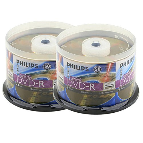 Philips Lightscribe Blank Media Disc DVD-R 16X Speed / 4.7GB / 120min - 100PK Cake Box by Produplicator