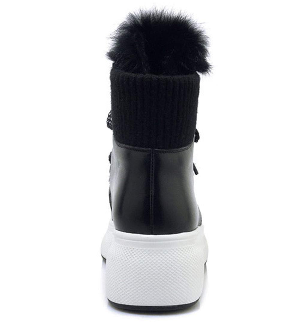 HRN Frauen Winter Schneeschuhe Leder Spitze Keilabsatz Keilabsatz Keilabsatz Stiefel flusen schnüren einfarbig lässige Mode Stiefel b374cc